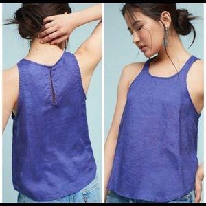 Anthropologie Maeve purple linen swing tank top